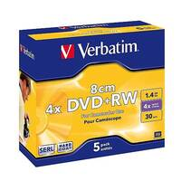 Verbatim DVD+RW Branded Jewel Case 1.4GB 4x (Pack of 5) Coloured 20 x 5 Pack
