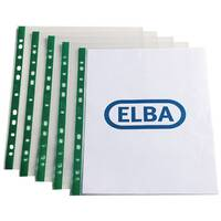 Elba Punch Pocket Green Spine A4 Clear Pack of 100 400002137