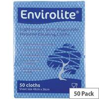 Envirolite 480x360mm Blue Lightweight All Purpose Cloths 50 Pack ELF500