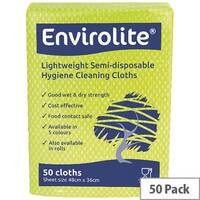 Envirolite 480x360mm Yellow Lightweight All Purpose Cloths 50 Pack ELF500