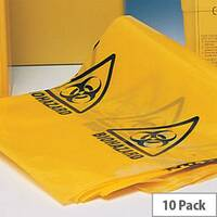 "Bio Hazard Yellow Clinical Waste Bags (Printed) 11"" x 17"" x 26"" Roll of 10"