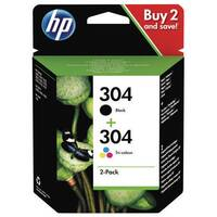 HP 304 2 Pack Tri-colour Black Original Ink Cartridge 3JB05AE