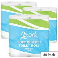 2Work Luxury Quilted Toilet Tissue Paper Rolls White 3-Ply Roll (10 Packs of 4) 40 Rolls in Total TQ4Pk