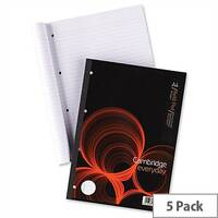Cambridge A4 Refill Pad Headbound Ruled Margin Punched 4 Holes 160 Pages K76792 Pack 5