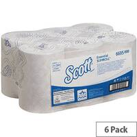 Scott Essential Slimroll 1 Ply White Paper Hand Towel Rolls 190m Long (6 Rolls) 6695