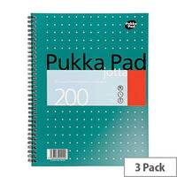 Pukka Pad A4 Wirebound Square Jotta Notepad – 3 Pack, 200 Pages, Wirebound, 4-Hole Punch, Perforations 14mm, Metallic Cover, 5mm Squared 80gsm White Paper &Easy removal (JM018SQ)