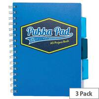 Pukka Pad Vision Wirebound Project Book A5 Blue Pack of 3 8612-VIS