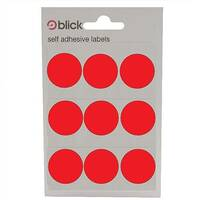 Blick Red Coloured Labels in Bags Round 29mm 20 x 36 Labels (720 in Total) RS005155