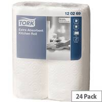 Tork Extra Absorbent Kitchen Paper Towel Rolls 64 Sheets per Roll 2 Ply White (Pack of 24) 120269