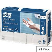 Tork Xpress Multifold 2 Ply White Premium Soft Paper Hand Towels 150 Towels Per Sleeve 21 Sleeves (3150 Sheets) 100289