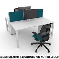 Switch 2 Person Bench Desk With Privacy Screens, Matching Under-Desk Pedestals &Chairs W 2000mm x D 2x700mm