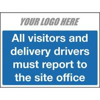 All Vistors And Delivery Drivers Sign 800X400mm 4mm Correx