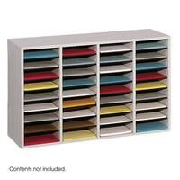Wood Adjustable Literature Organiser 36 Compartment Grey (Gr)