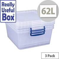 Really Useful Box Nestable Storage Box 62L Transparent Pack Of 3