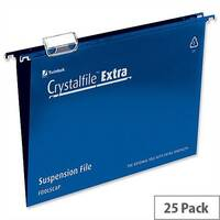 Rexel Crystalfile Extra Foolscap Vertical Suspension File Blue Plastic 15mm Pack 25