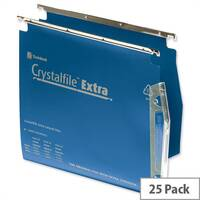 Rexel Crystalfile Extra Lateral 275mm Suspension File V-base 15mm Blue Pack 25