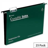 Rexel Crystalfile Extra A4 Vertical Suspension File Green Plastic 30mm Pack 25