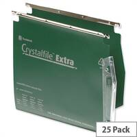 Rexel Crystalfile Extra Lateral 275mm Suspension File 50mm Wide-base Green Pack 25 Ref 71763