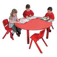 Polyethylene Circular Preschool Table Red D115 x H520mm YAY003