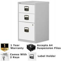 1 Filing &2 Stationery Drawer A4 Steel Filing Cabinet Lockable Silver &White Bisley PFA Home Filers