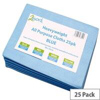 2Work Heavyweight Cleaning Cloths Blue Pack of 25 CCBV50ARL