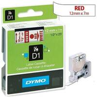 Dymo D1 Tape 45015 12mm x 7m Red on White S0720550