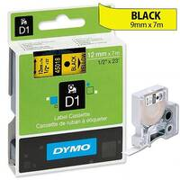 Dymo D1 Tape 45018 12mm x 7m Black on Yellow S0720580