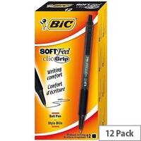 Bic SoftFeel Retractable Ballpoint Pen Black Rubberised Barrel Pack 12