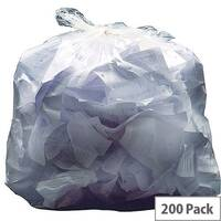 2Work Light Duty Refuse Sack 90L Clear Pack of 200 KF73377