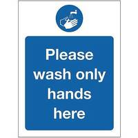Rigid PVC Plastic Food Processing And Hygiene Sign Please Wash Only Hands Here