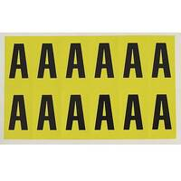Adhesive Label Bin Sticker Letter A H56xW21mm 12 Characters Per Sheet Black Text On Yellow
