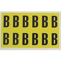 Adhesive Label Bin Sticker Letter B W38xH90mm 6 Characters Per Sheet Black Text On Yellow