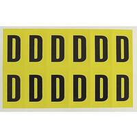 Adhesive Label Bin Sticker Letter D H90xW38mm 6 Characters Per Sheet Black Text On Yellow