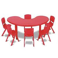 Polyethylene Preschool Table Horseshoe Shape Red 90x165x52cm High YAY004